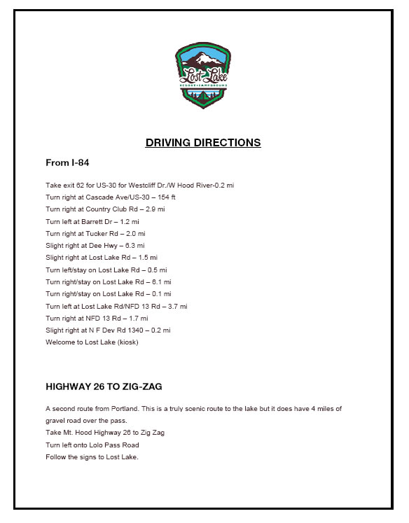 Driving Directions Print Version Drivingdirections