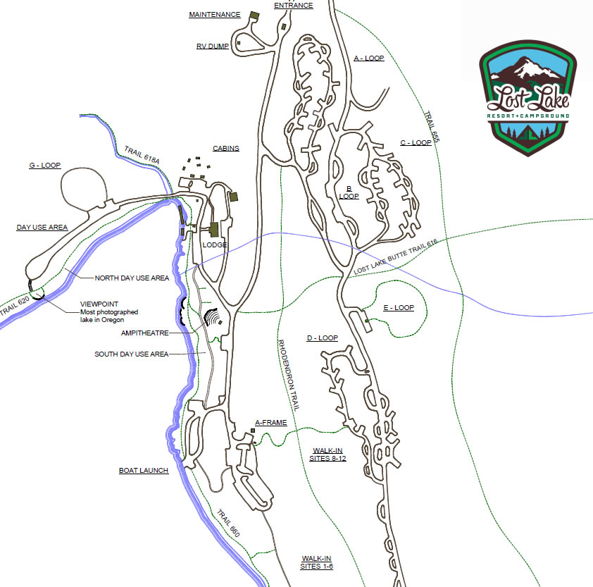 Lost Lake Campground Map lost lake map   Lost Lake Campground & Resort